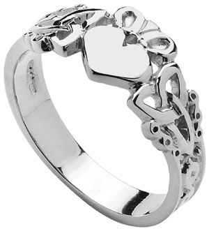 Mens Sterling Silver Trinity Knot Claddagh at Claddaghrings.com #valentinesdaygifts #claddagh $75.00