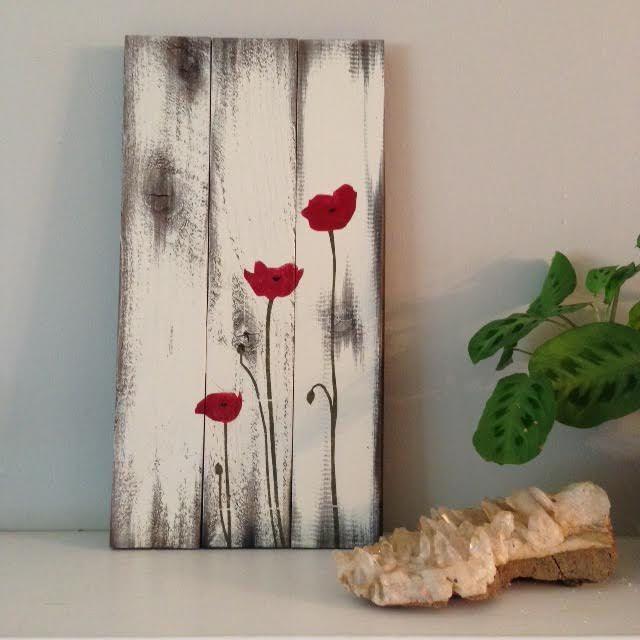 Poppy painting on reclaimed wood pintura sobre madera - Pinturas de madera ...