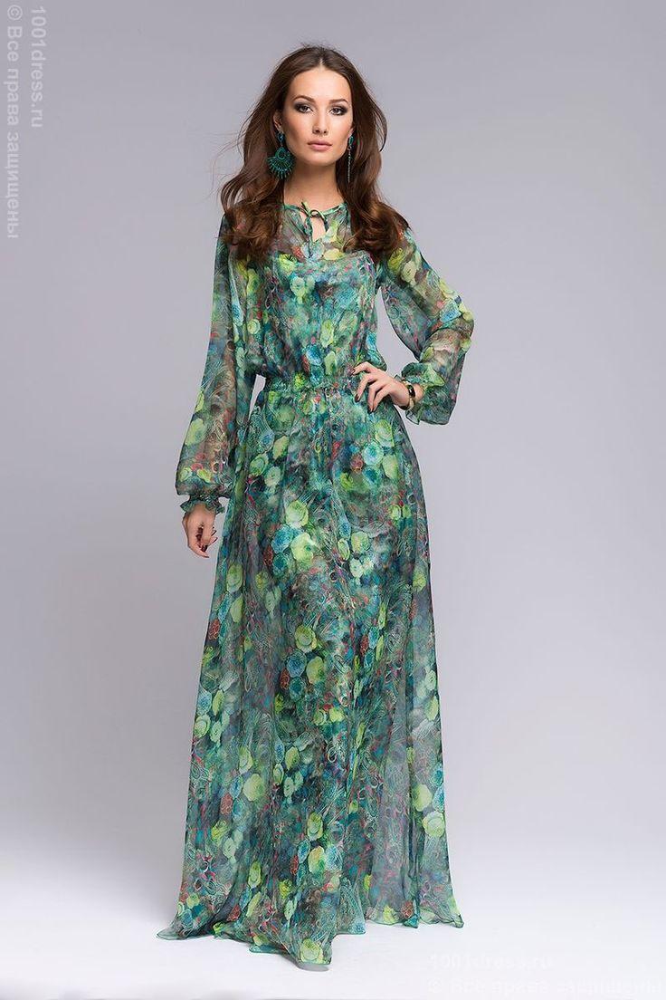 Платье зеленое длины макси с цветочным принтом и длинными рукавами DM00344GR , зеленый в интернет магазине Платья для самых красивых 1001dress.Ru
