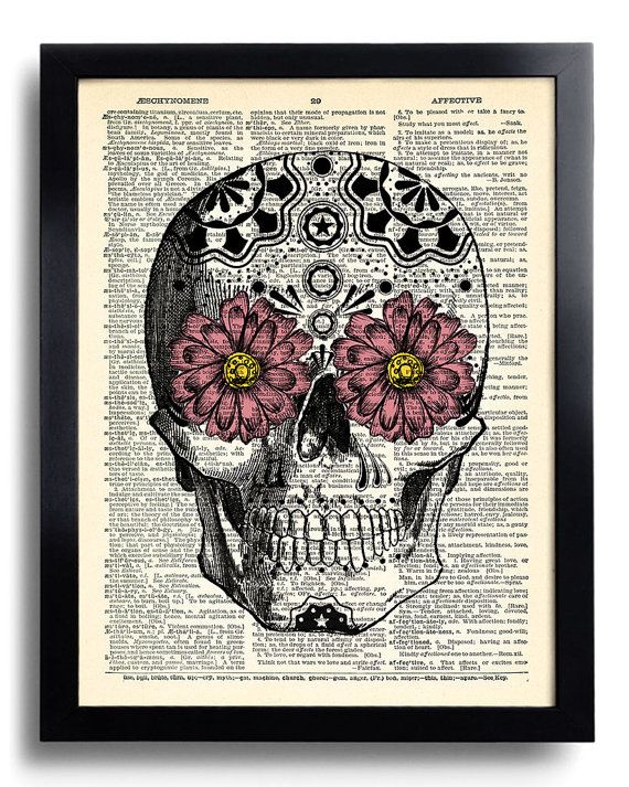 Day of the Dead Flower Mexican Skull Art Print by PrintsVariete