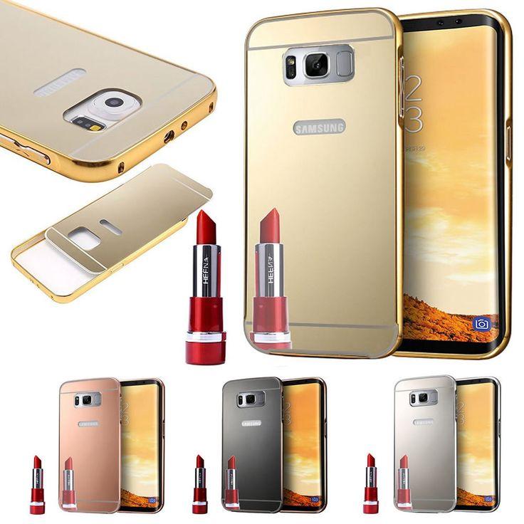 Aluminum Metal Bumper+ Plating Mirror Hard PC Back Case Cover For Samsung Galaxy #Fuzzypeach2000