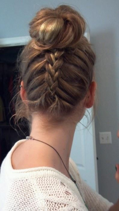 Upside Down Braid Bun with highlights and a  cute fleece top