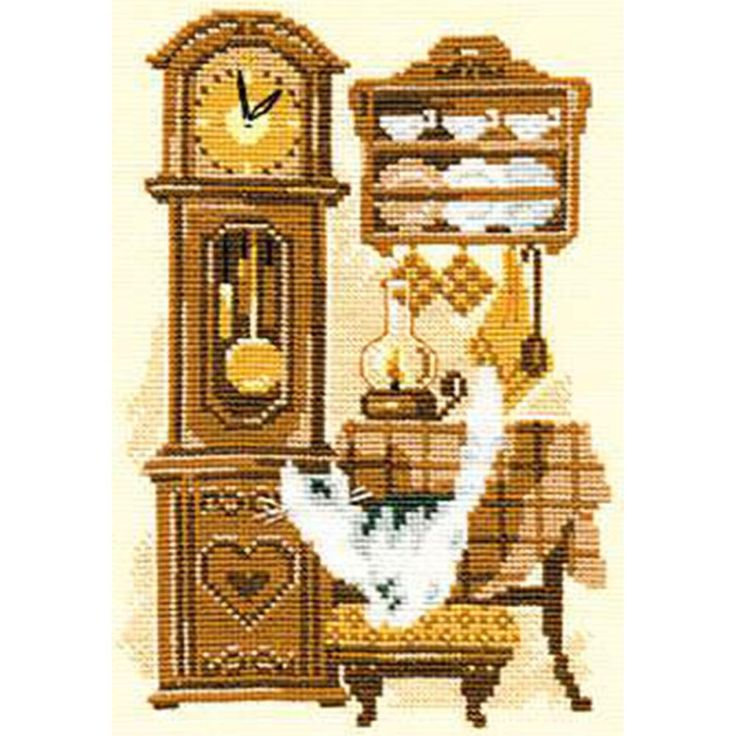 """Cat With Clock Counted Cross Stitch Kit-7.125""""X9.5"""" 15 Count"""