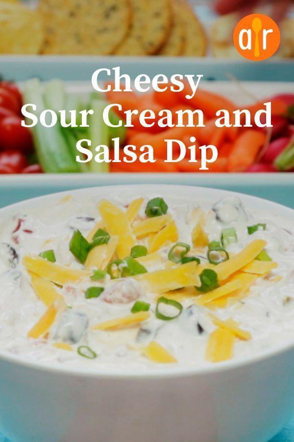 Cheesy Sour Cream And Salsa Dip Recipe In 2020 Salsa Dip Sour Cream Recipe Using Salsa