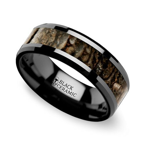 Beveled Dinosaur Bone Inlay Men's Wedding Ring in Black Ceramic | Image 01