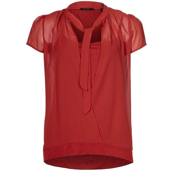 ESPRIT Collection COVI Basic Tshirt (3.490 RUB) ❤ liked on Polyvore featuring tops, t-shirts, red, women's tops, red top, basic tee shirts, rayon tops, basic t shirt and basic tees