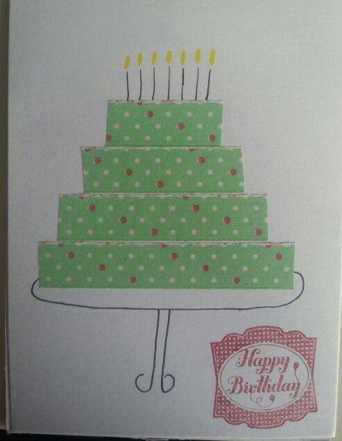 Verjaardagskaartje. Taart van washi tape en de stempel van Stampin Up