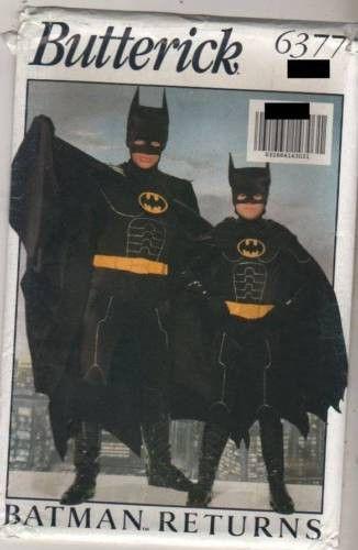 6377 Sewing Pattern Vintage Butterick Adult MEN'S BATMAN COSTUME size XS-S-M-L