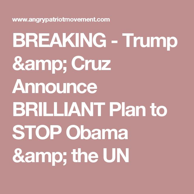 BREAKING - Trump & Cruz Announce BRILLIANT Plan to STOP Obama & the UN