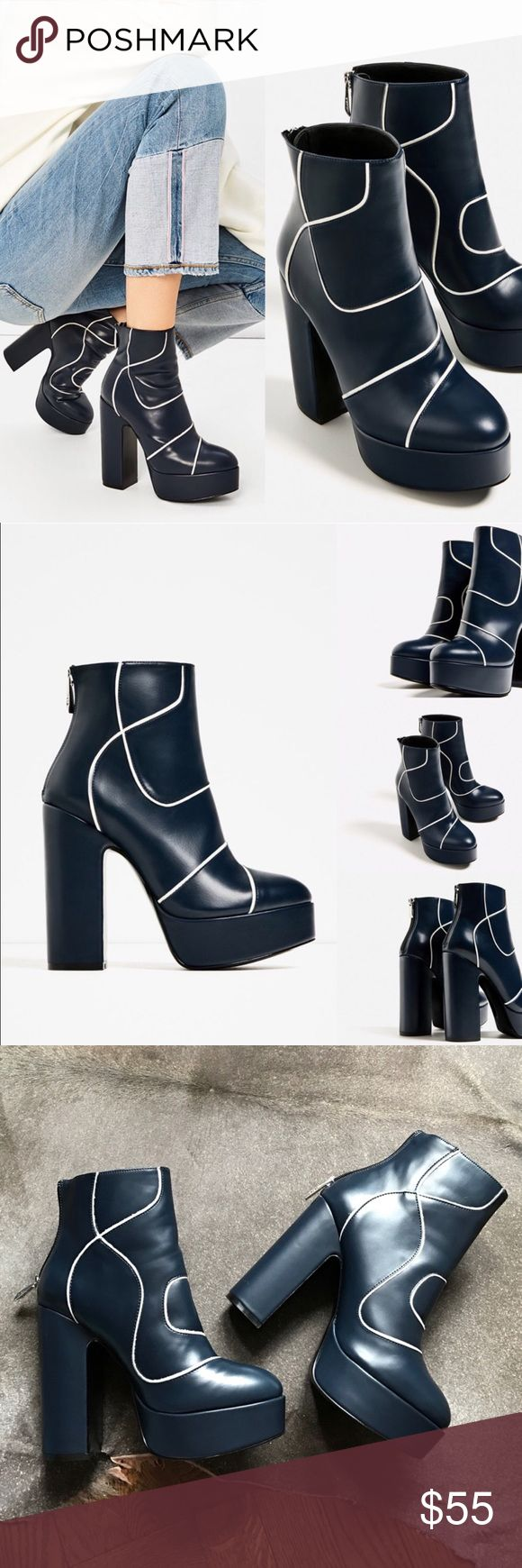 Zara Platform Ankle boots Navy blue with white detail. Brand new with tags in perfect condition! Zara Shoes Heeled Boots