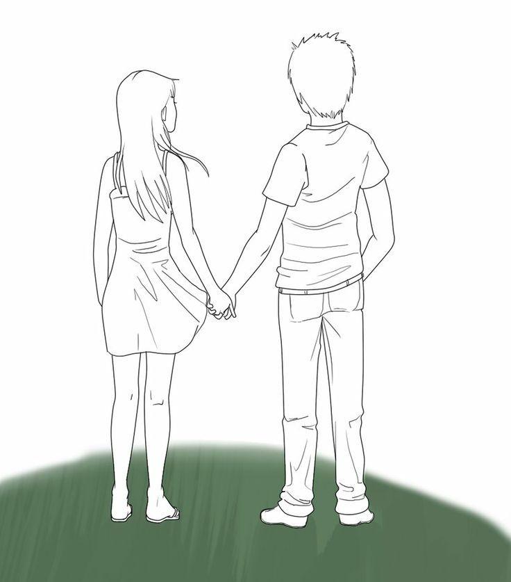 Resultado De Imagem Para People Back Draw Holding Hands Drawing Drawing People Couple Drawings
