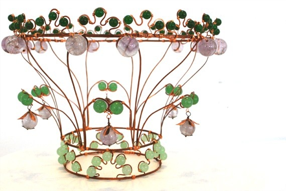 """Where Adam met Eve""  Wirework crown of copper, jade and amethyst. #bridal"