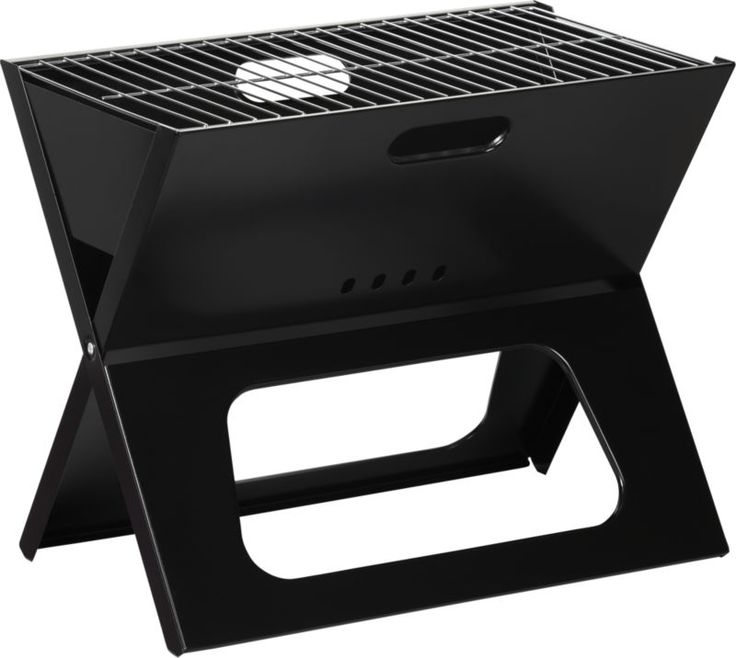 Folding Portable Charcoal Grill from CrateAndBarrel.  Want one to throw in the camper!