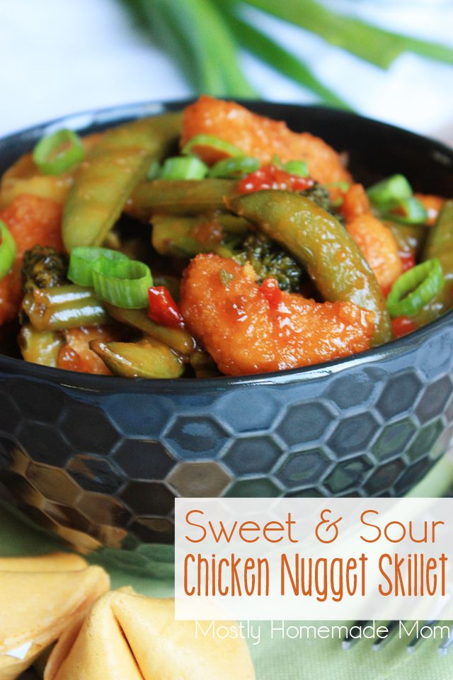 Frozen chicken nuggets make this classic sweet & sour takeout dinner a snap to put together on a busy weeknight!