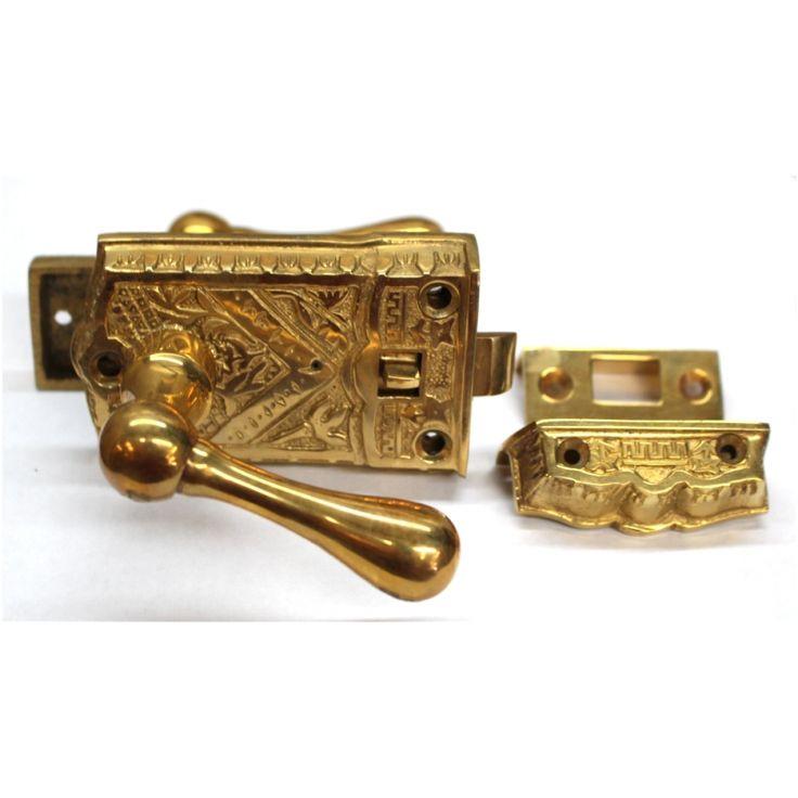 Vintage Brass Eastlake Victorian SCREEN DOOR Latch Lock hardware restoration