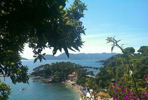 Beach view of Fiascherino, Liguria, Italy