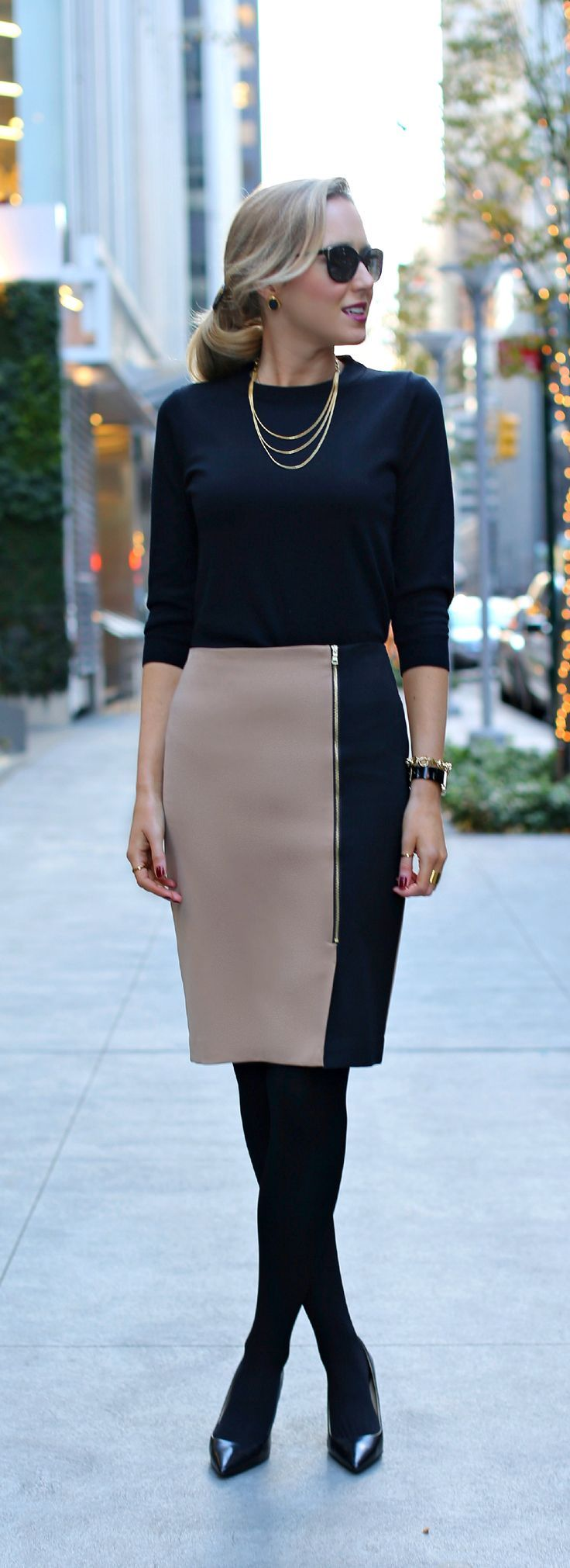 Classy all black office attire. | Office Style                                                                                                                                                      More