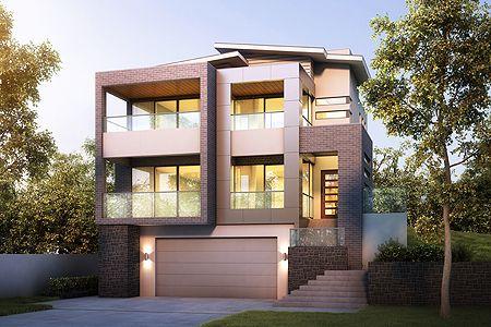 Tri Level Garage Underneath Roof Line Duplex Facades - House design with garage underneath