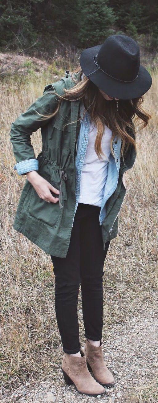 #fall #fashion / green jacket + denim