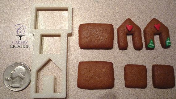 Tiny Mini gingerbread house cookie cutter by CakeryCreation