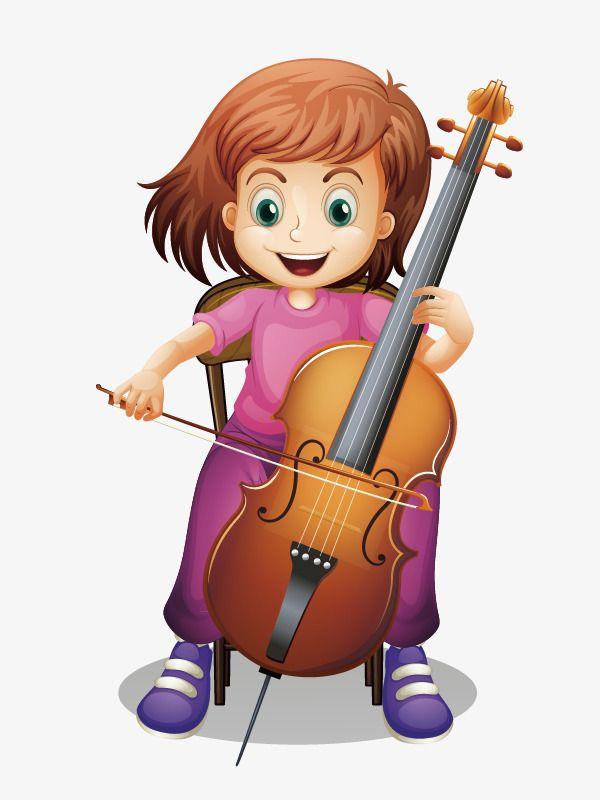 الكرتون فتاة الكمنجة مرسومة باليد شخصيات كرتونية من ناحية