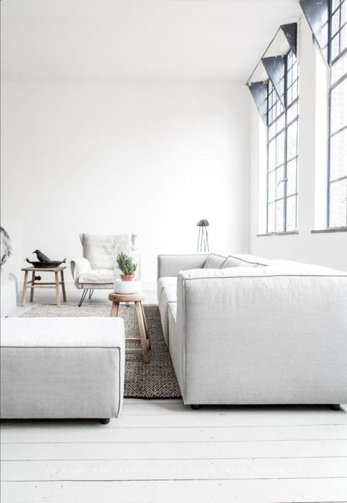 Grey couch | white walls | living area | Harper and Harley