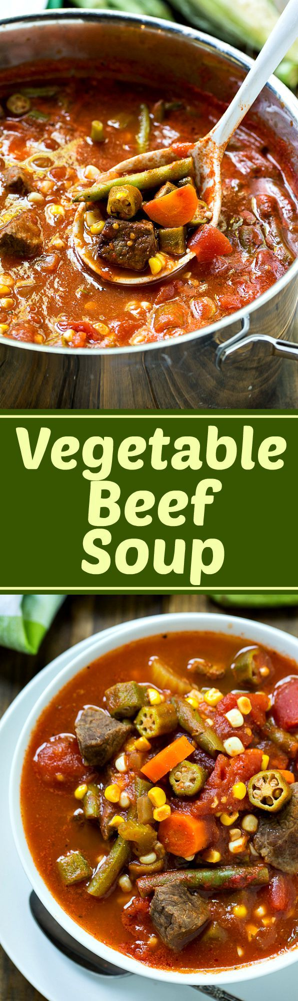 Vegetable Beef Soup is a great way to use up end of summer veggies. Make a large batch and freeze to eat when the weather cools down.