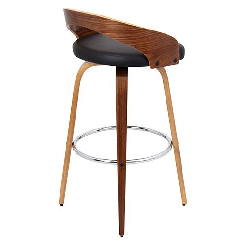 Grotto Walnut And Brown Barstool LumiSource Bar Height (28 To 36 Inch) Bar Stools Kitchen