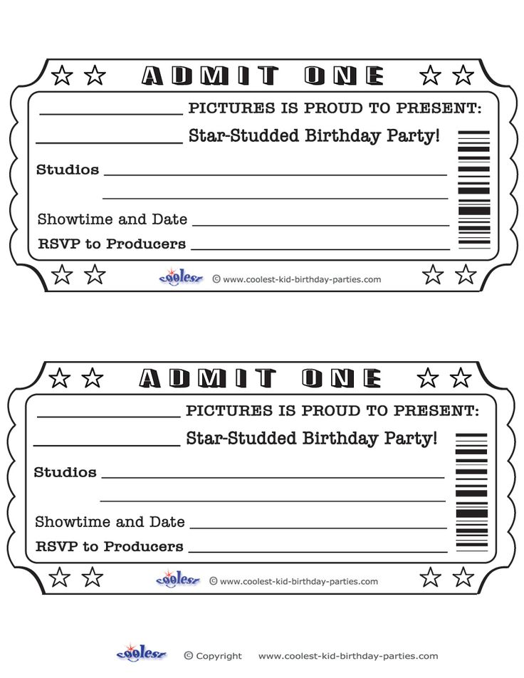 Printable Admit One Invitations Coolest Free Printables weddeng - movie invitation template free