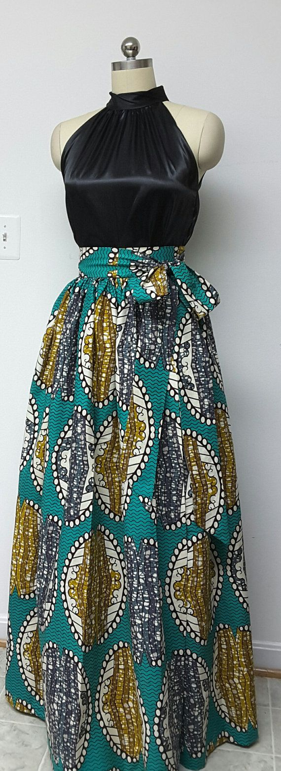 African Print Wrap Maxi Skirt with Sash by NanayahStudio on Etsy More