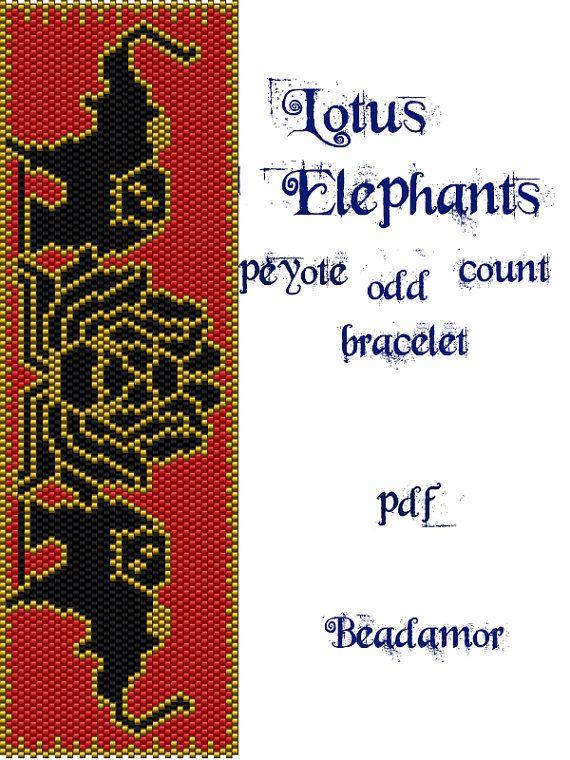 Peyote Pattern for bracelet Lotus Elephants INSTANT by Beadamor