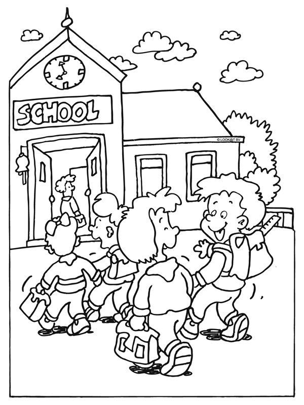 Kleurplaat Naar School School Begin Schooljaar