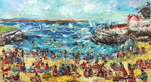 "Deborah Donnelly, ""Sandycove"" #art #painting #beach #summer #waves #coast #Sandycove #sunny #sunshine #DukeStreetGallery"