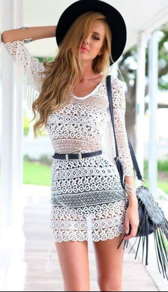 Beach dress lace hollow inclined shoulder sexy dress