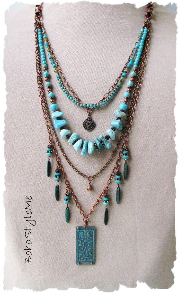 Boho Turquoise Beaded Necklace, Handmade Layered Bohemian Necklace, BohoStyleMe, Rustic Stone Chunky Necklace