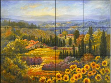 Tile Mural -17 x 13 or 24 x 18 Tuscan Countryside - Rk - Kitchen Backsplash Ideas - Mediterranean - Tile Murals - by The Tile Mural Store (USA)