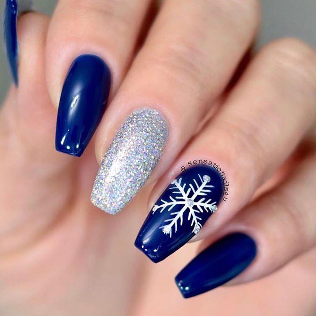 dark blue and silver nail art, winter nail art, christmas