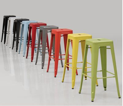Colorful Tabouret Counter Stools. 2 for $90.  Stackable.  Great for island and outside deck bar. Overstock