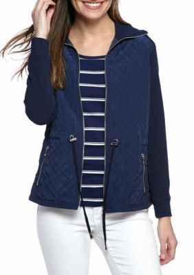 Ruby Rd True Navy Fresh Start Quilted French Terry Drawstring Waist Jacket
