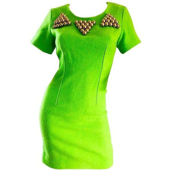 Preowned 1990s Gianni Versace Neon Lime Green Bodycon Wool Vintage 90s... ($1,750) ❤ liked on Polyvore featuring dresses, cocktail dresses, green, lime green dresses, vintage cocktail dresses, vintage dresses and bodycon mini dress