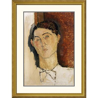 """Global Gallery 'Tete De Jeune Homme' by Amedeo Modigliani Framed Painting Print Size: 32"""" H x 24.95"""" W x 1.5"""" D"""