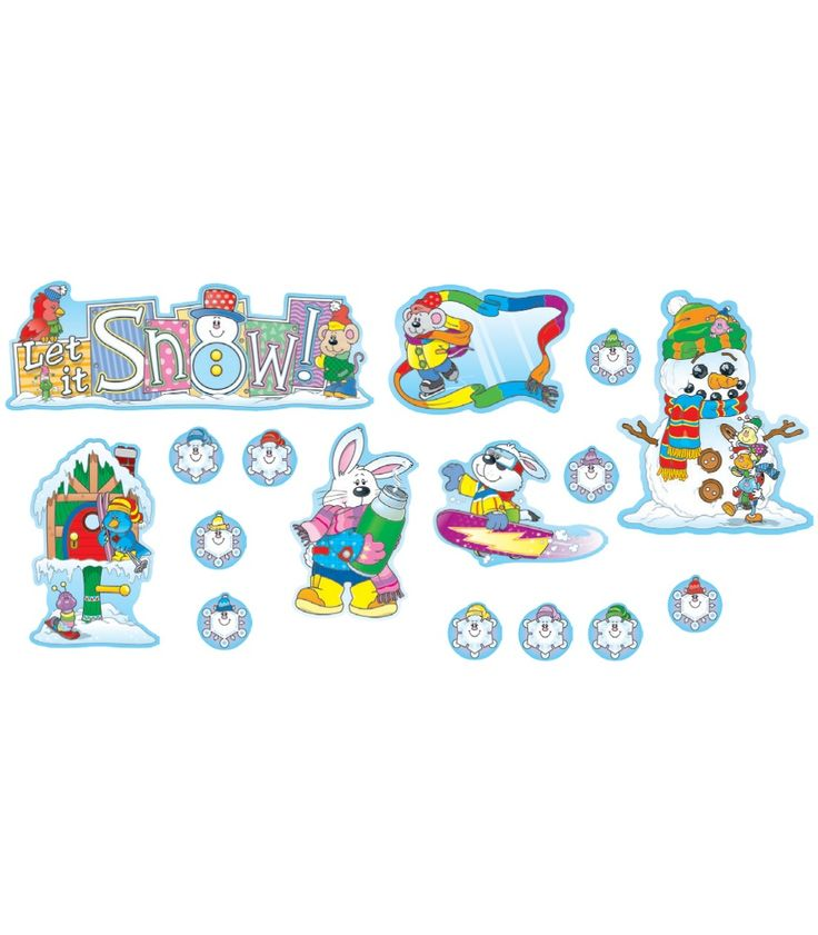 """This fun, winter-themed bulletin board set includes:  12 winter scenes (largest approx. 14.25"""" x 8.5"""") 30 snowflakes A header A resource guide which includes reproducible Thinking Tags to stimulate creative thought and writing #CDWish13"""