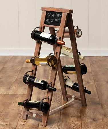 Love this Chalkboard Wine Holder on #zulily! #zulilyfinds with handles or c clamps. I might try with wine barrel staves