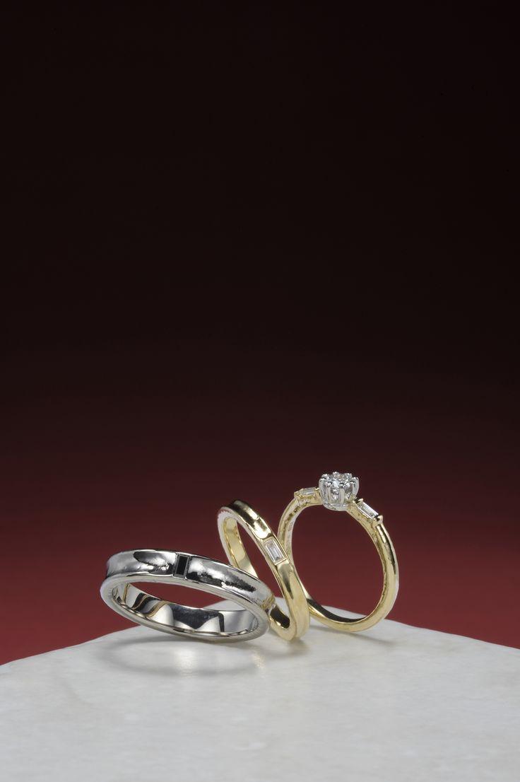 婚約指輪:糸-いと- ~透きとおる輝きの先へ~ / 結婚指輪:あゆむ ~ふたりで織りなす 幸せの道~