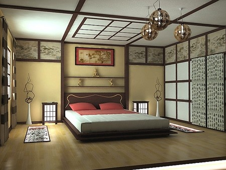 Asian Themed Bedroom...I like the trimming and laminate flooring ...