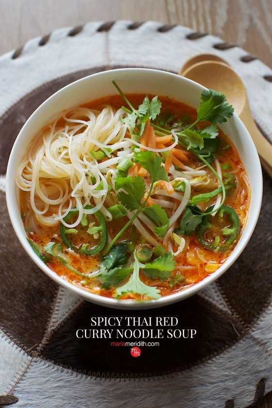 Spicy Thai Red Curry Noodle Soup recipe. Best soup you will ever eat! Kid approved too.