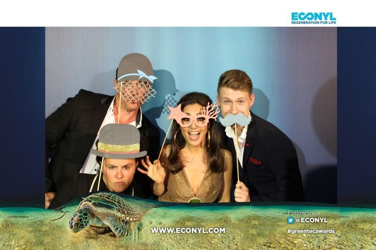 With Nazan Eckes - ECONYL® at the GreenTec Awards 2015 in Berlin. The Green Carpet was made by Vorwerk using ECONYL® regenerated yarn coming from fishing nets, old carpets and other pre-consumer waste. At the event we had also a photo booth with funny props inspired by our regeneration of carpets, nets and by the marine world we are fighting to save. #ethical #fashion and #design#sustainability