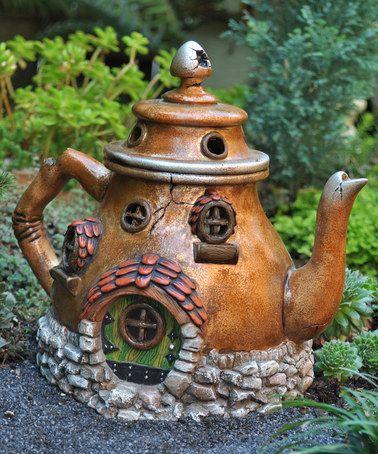 Look at this #zulilyfind! Fairy Garden Teapot House Figurine #zulilyfinds