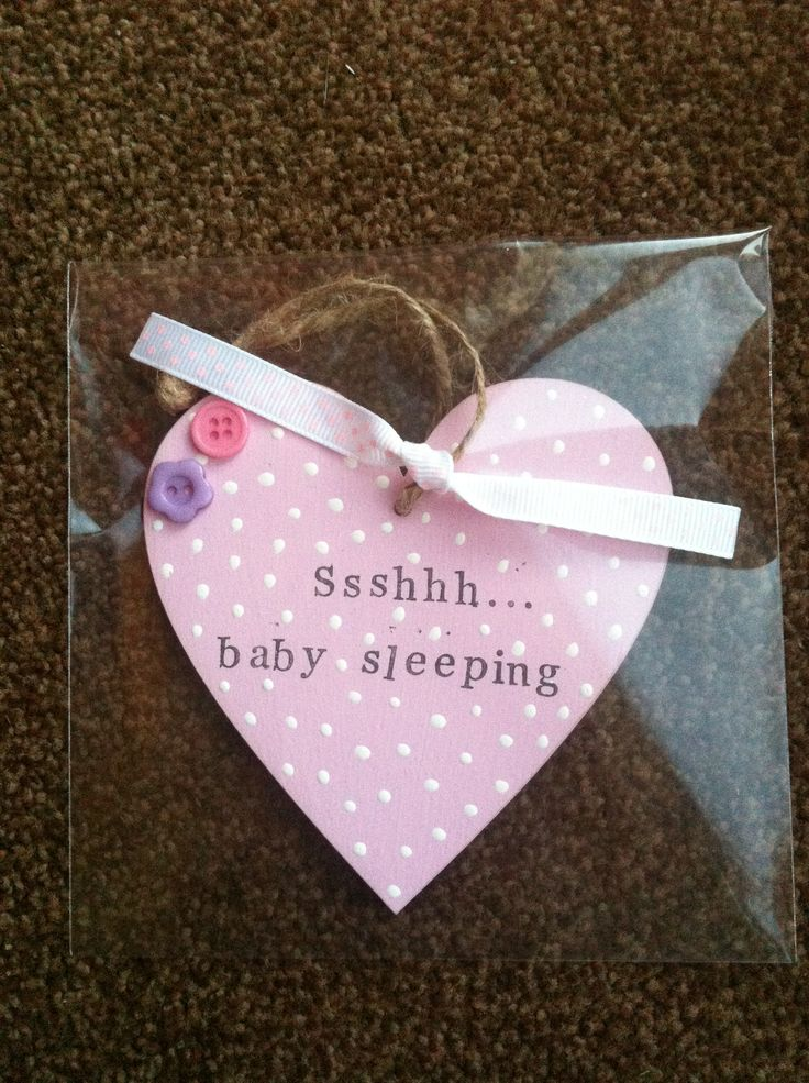Hanging decorated wooden heart. New baby gift. Nursery door sign. Ssshhh baby sleeping. Girls.