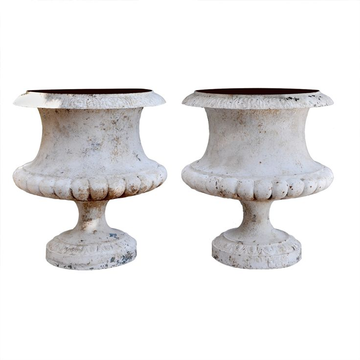 A Pair Of French Nineteenth Century Cast Iron Urns